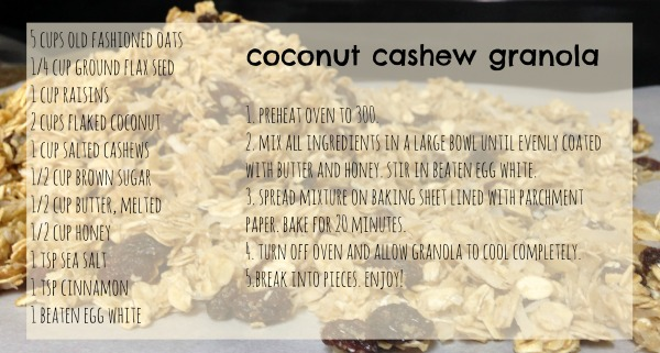 coconut cashew granola recipe card